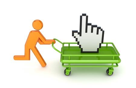carretilla de mano: Ejecuci�n de 3 � persona peque�a y el cursor grande en una carretilla de mano. Aislado sobre fondo blanco.