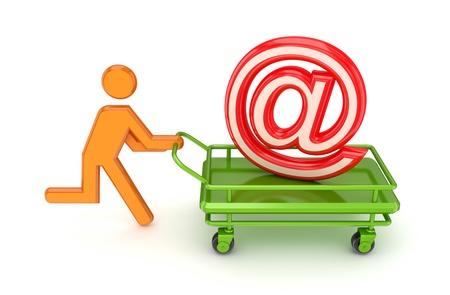 carretilla de mano: Ejecuci�n de la persona 3d peque�a y abrir una sesi�n de correo electr�nico en un carrito. Aislado sobre fondo blanco. Foto de archivo