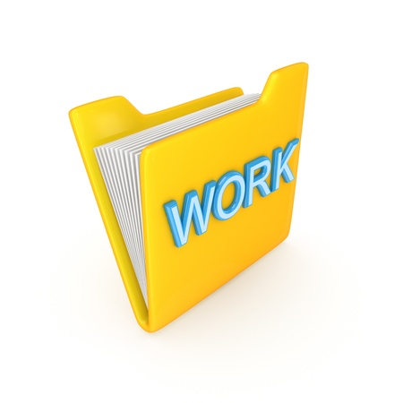 Yellow folder with a blue word WORK. Isolated on white background.3d rendered. photo