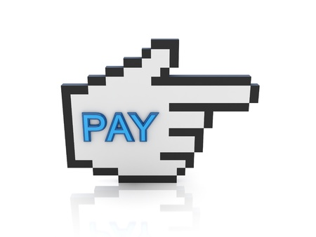 Large cursor with a word PAY. Isolated on white background.3d rendered. photo