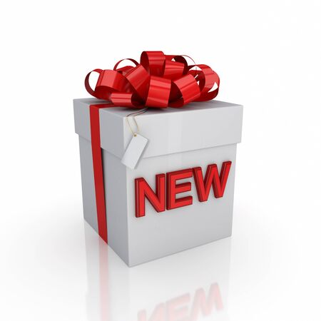 Gift box with a signature NEW.Isolated on white background. 3d rendered. photo