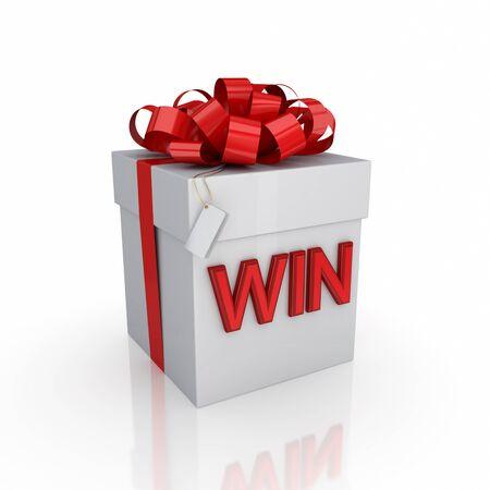 premios: Caja de regalo con una firma WIN.Isolated sobre fondo blanco. 3d rindi�.