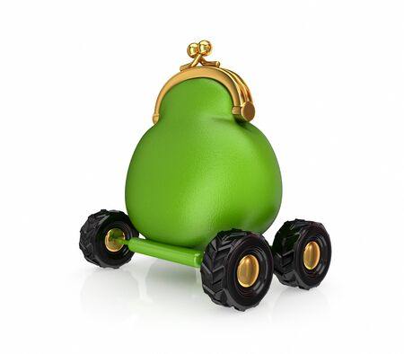 Green vintage purse on a wheels.Isolated on white background.3d rendered. Stock Photo - 12210612