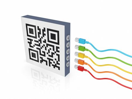 passcode: QR code and colorful patch cords.Isolated on white background.3d rendered.