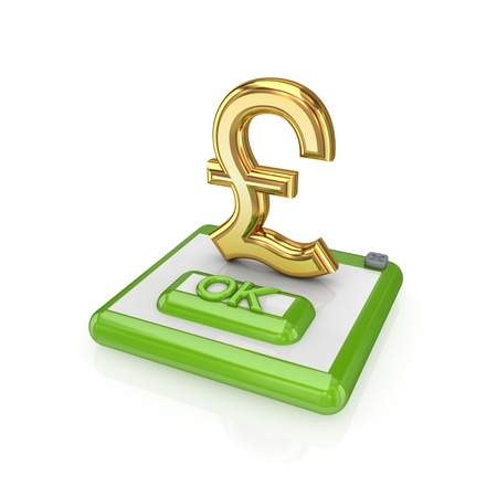 pound sterling: Ok button and pound sterling sign.Isolated on white background.3d rendered.