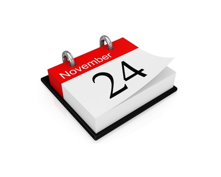 Calendar. Isolated on white background. 3d rendered. photo