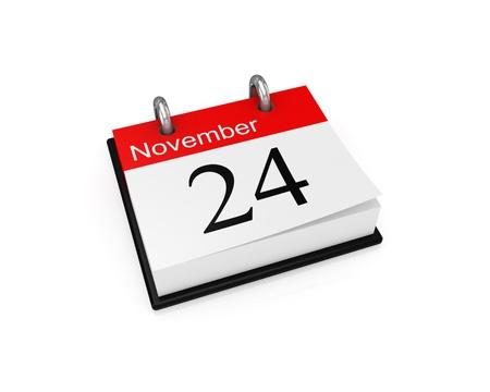 november 3d: Calendar. Isolated on white background. 3d rendered. Stock Photo