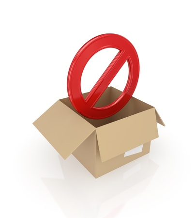 Red stop symbol in carton box.Isolated on white background.3d rendered. photo