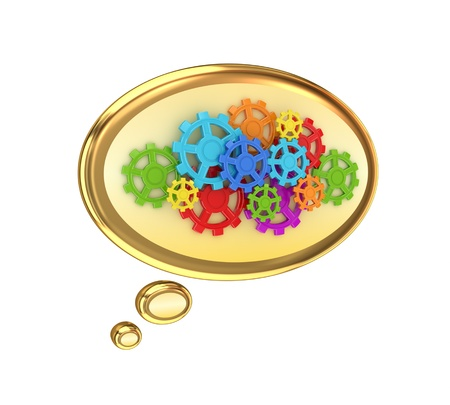 Colorful gears. Isolated on white background.3d rendered. photo