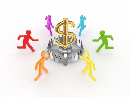 corporate greed: Colorful 3d small people around iron trap and dollar sign.Isolated on white background. Stock Photo