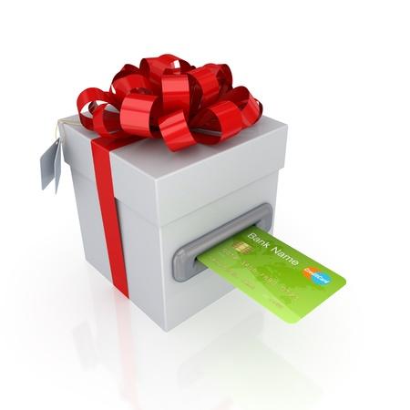 carta credito: Carta di credito verde e regalo box.Isolated su bianco background.3d reso. Archivio Fotografico