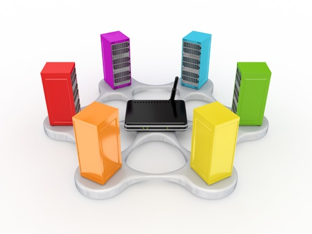 dsl: Server concept. Isolated on white background. 3d rendered. Stock Photo