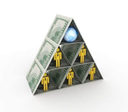 Financial pyramid concept.Isolated on white background.3d rendered. photo