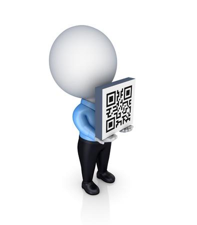 3d personne de petite taille avec un code QR dans un hands.Isolated sur fond blanc.