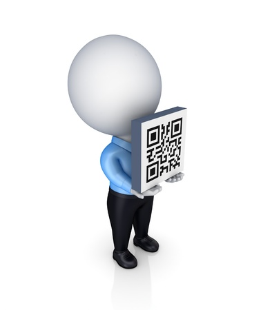 3d small person with a QR code in a hands.Isolated on white background.
