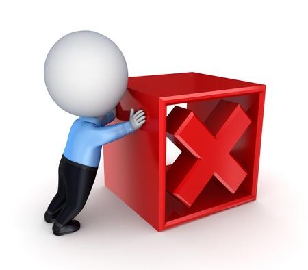 rood kruis: 3d klein persoon het duwen van een rood kruis merk. Geà ¯ soleerd op een witte achtergrond.