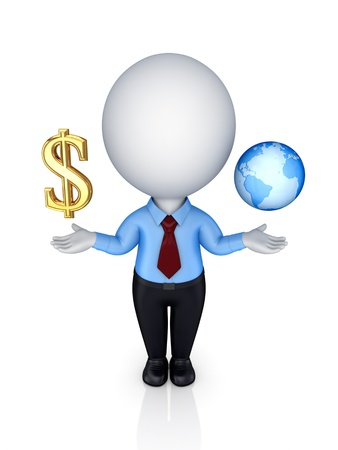 3d small person with a dollar sign and planet earth.Isolated on white background. photo
