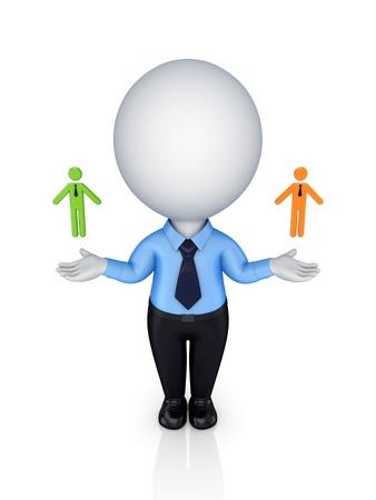 individui: Leadership concept.Isolated su sfondo bianco. 3D rendering.