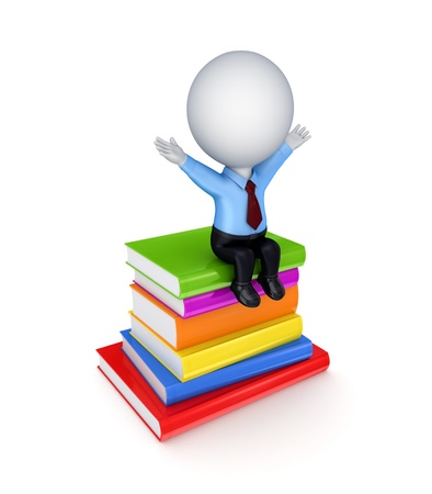 3d small person sitting on a stack of books.Isolated on white background.