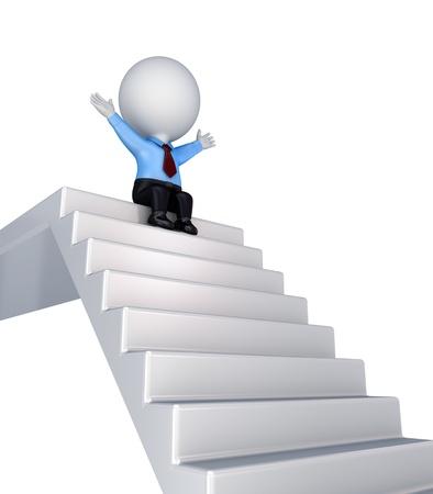 stair: 3d kleine persoon zit op een stairs.Isolated op witte achtergrond. Stockfoto