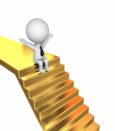 3d small person sitting on a golden stairs.Isolated on white background. photo