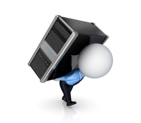 petit bonhomme: 3d personne de petite taille avec un PC.Isolated sur fond blanc. 3d rendu.