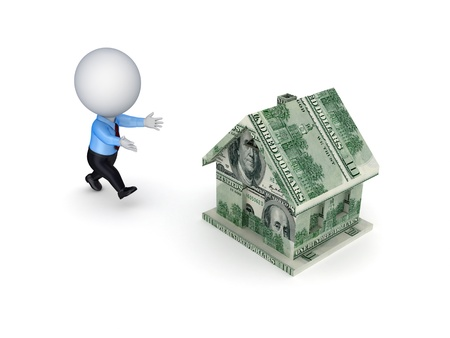 avidity: 3d small person running to a house made of dollars.Isolated on white background.