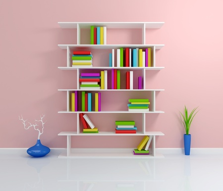 White bookshelf with a colorful books. 3d rendered. Stock Photo - 12219718