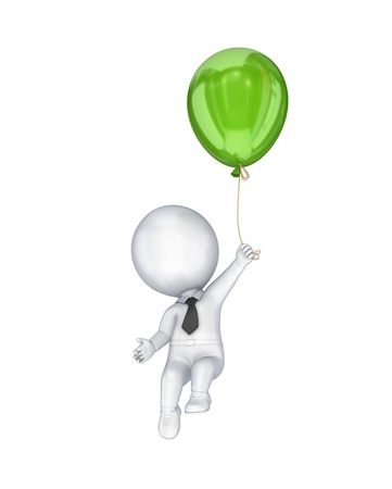 3d small person flying with a green air balloon.Isolated on white background. photo