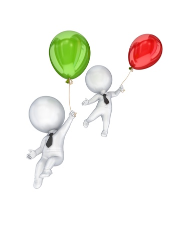 3d small people flying with a colorful air balloons.Isolated on white background.