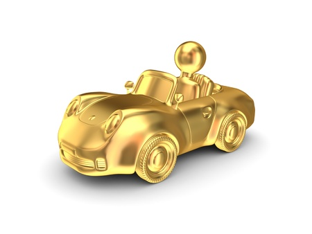 gold road: Golden car. Isolated on white background.3d rendered.
