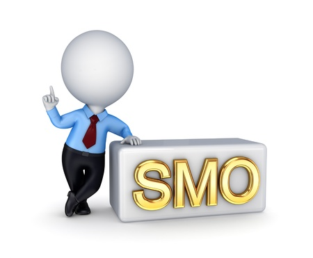 optimizing: SMO concept. Isolated on white background. 3d rendered. Stock Photo