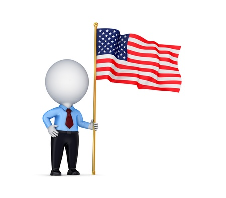 3d small person with american flag in a hand.Isolated on white background. Stock Photo