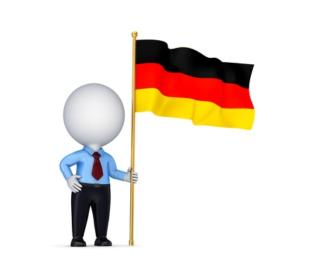 3d small person with a German flag in a hand.Isolated on white background. photo