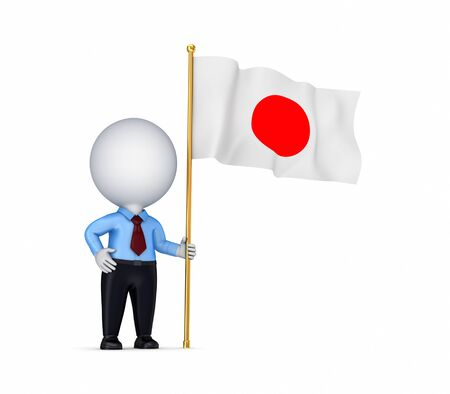 the sovereign: 3d small person with a Japanese flag in a hand.Isolated on white background. Stock Photo