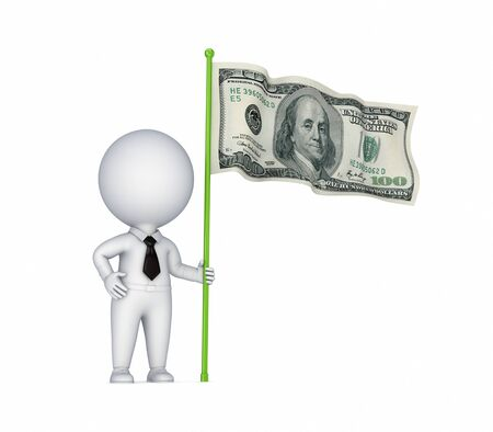 financial official: 3d small person with a dollar flag in a hand.Isolated on white background. Stock Photo
