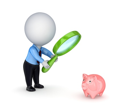Looking for money concept. Isolated on white background.3d rendered. photo