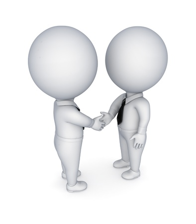 Businesspeople shaking hands. Isolated on white background. photo