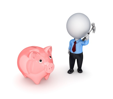 3d small person with a hammer in a hands and pink piggy bank. Stock Photo - 12222985
