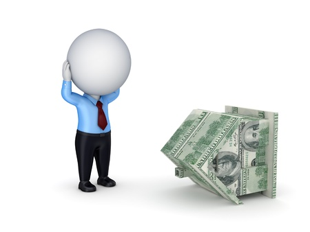 executive apartment: Stressed 3d small person and house made of money  Stock Photo