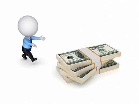 avidity: 3d small person running to a dollars