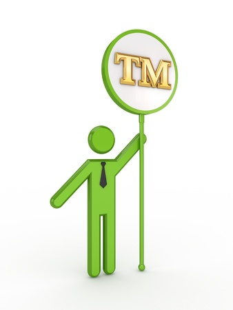 3d small person with TM symbol  photo