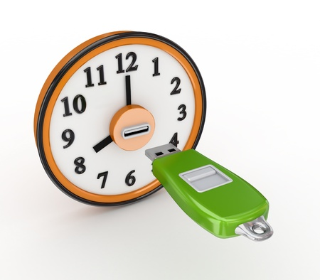 Flash memory and orange clock  photo