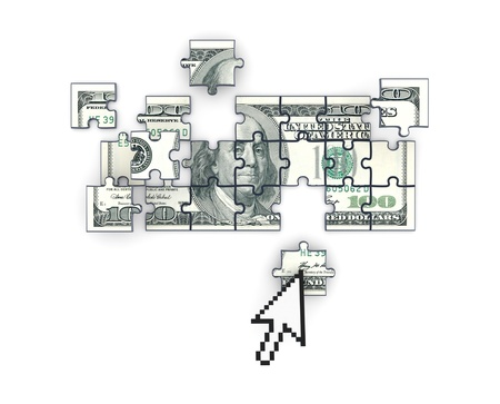 Dollars made of puzzles  photo