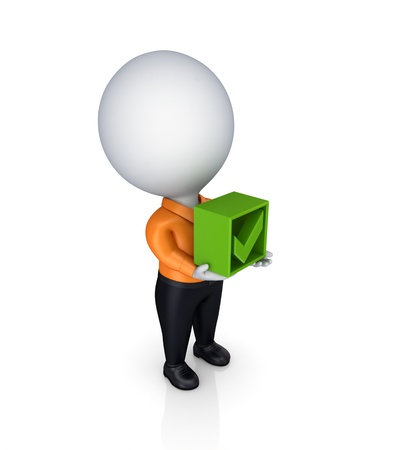 3d small person with a tick mark in a hands Stock Photo - 13942685