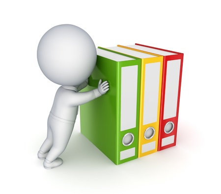 stack of files: 3d small person pushing colorful folders  Stock Photo
