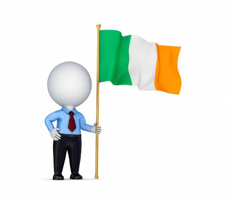 irish pride: 3d small person with an Irish flag in a hand
