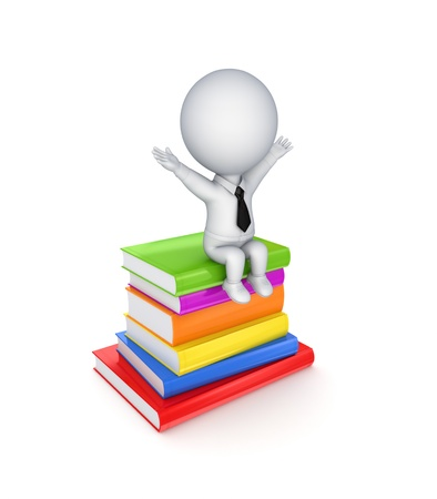3d small person sitting on colorful books Stock Photo - 13942572