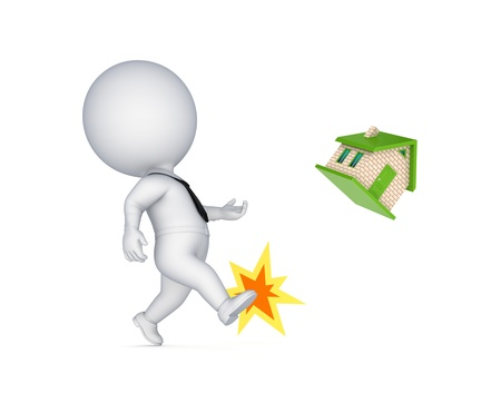 sold small: 3d small person kicking a small house
