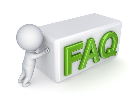 3d small person pushing word FAQ Stock Photo - 13942717